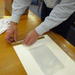 measuring the work for framing, with Bruce Bumbarger & John Anderies